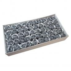 Set mit 50 duftenden Seifenrosen, echte Note, Silber
